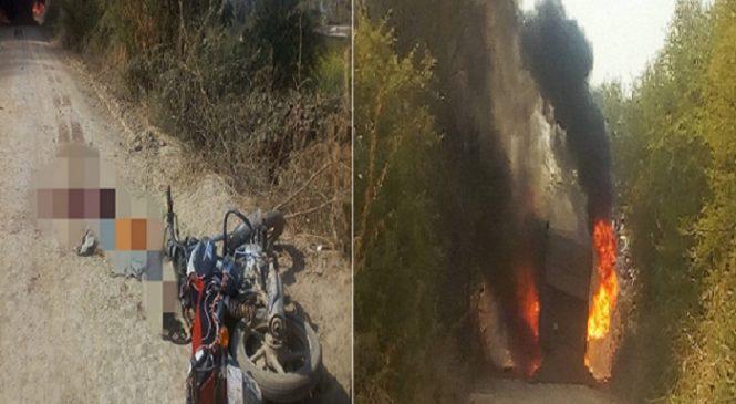 हमीरपुर में ओवरलोड बालू लदे ट्रक से कुचलकर पिता की मौत-बेटा गंभीर, ग्रामीणों ने लगाई ट्रक में आग-तोड़फोड़