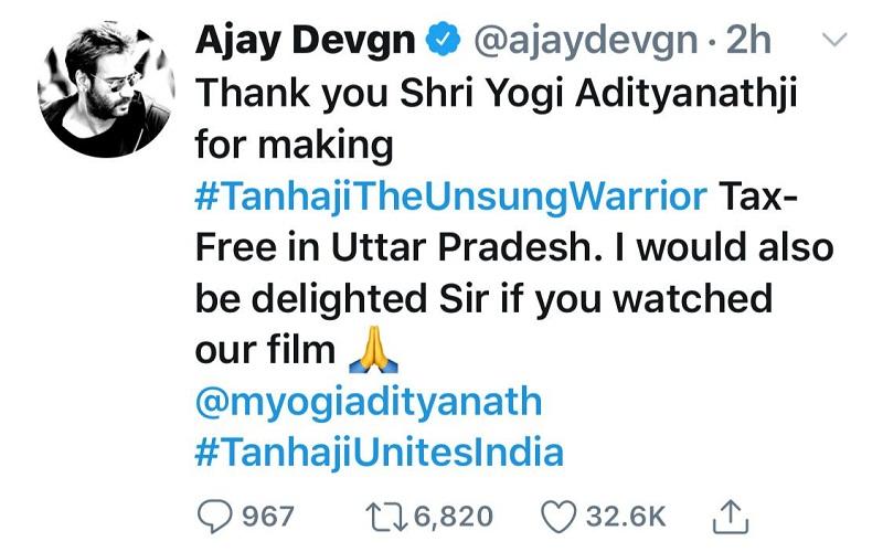 Movie Tana ji tax free