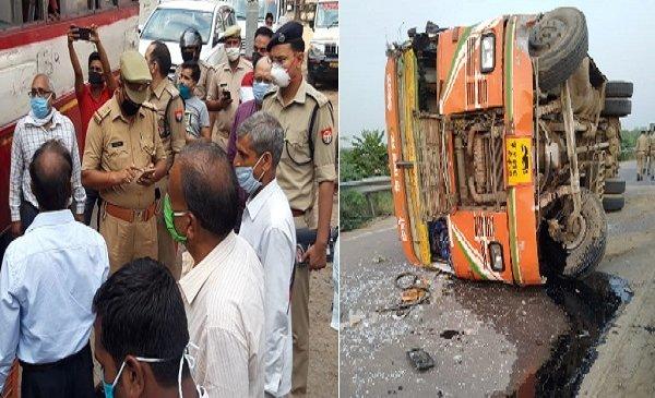 हादसाः हमीरपुर में पलटी नोएडा से प्रवासियों को ला रही रोडवेज बस, 15 घायल