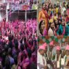 Fiercely colored in the Ganges fair in Kanpur