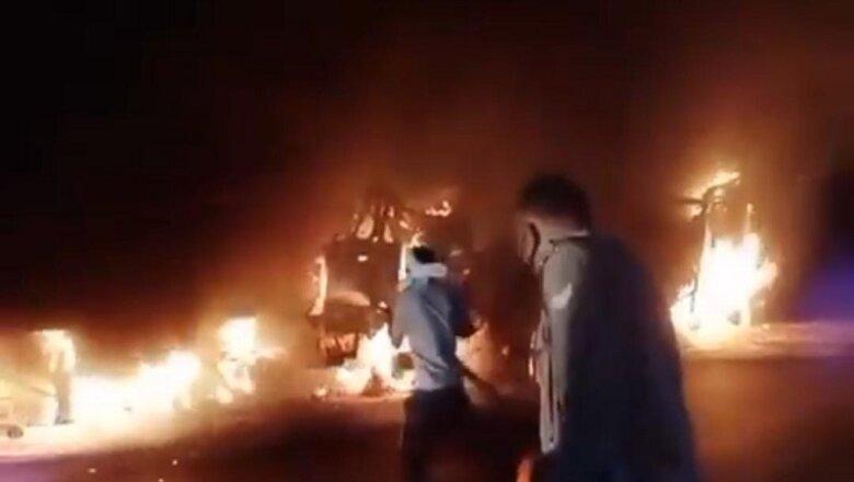 दर्दनाक हादसा : बेटे के सामने गाड़ी में फंसे पिता की जिंदा जलकर मौत